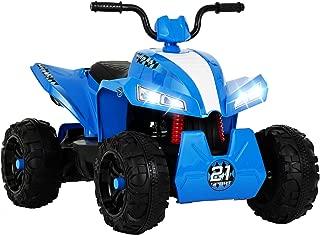 Uenjoy 12V Kids ATV 4 Wheeler Ride On Quad ATV eléctrico con batería para niños, 2 velocidades, suspensión de ruedas, luces LED, música, azul