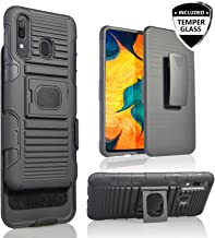for Samsung A10E [5 Functions in 1] Temper Glass Case Heavy Duty Shock Absorption Magnetic Ring Kickstand Armor Case with Belt Swivel Clip Holster Cover