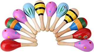 Mini Wooden Fiesta/Ball Musical Instruments Maracas-12pcs(Random Colors)