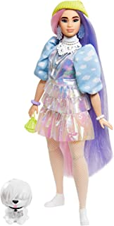 Barbie Extra Doll #2 in Shimmery Look with Pet Puppy, Pink & Purple Fantasy Hair, Layered Outfit & Accessories Including N...