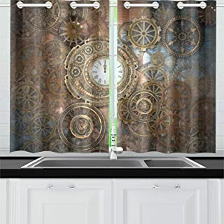 MOVTBA Rusty Steampunk Clock Different Kinds Kitchen Curtains Window Curtain Tiers for Café, Bath, Laundry, Living Room Bedroom 26 X 39 Inch 2 Pieces