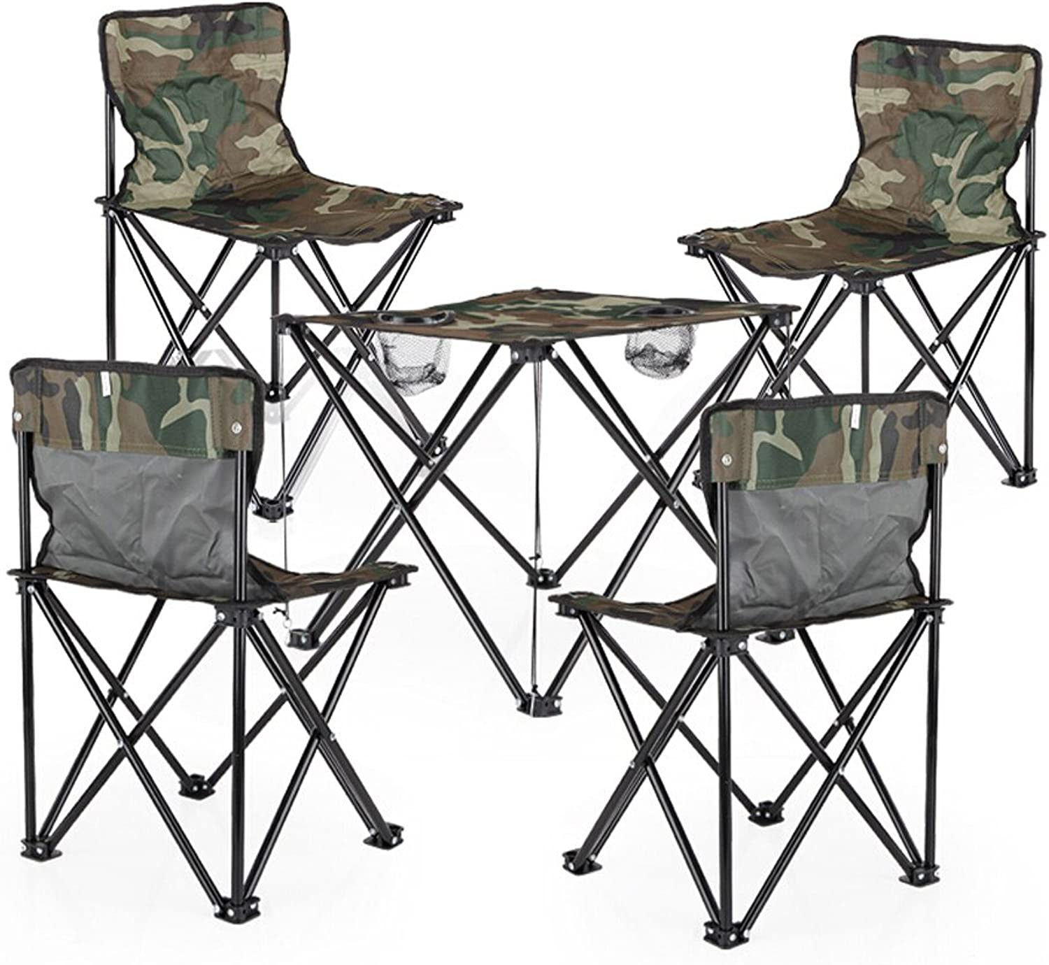 XUANLAN Folding Table and Chair Set Folding Portable Camouflage Table and Chairs Camping Beach Park Lightweight Table and Chairs