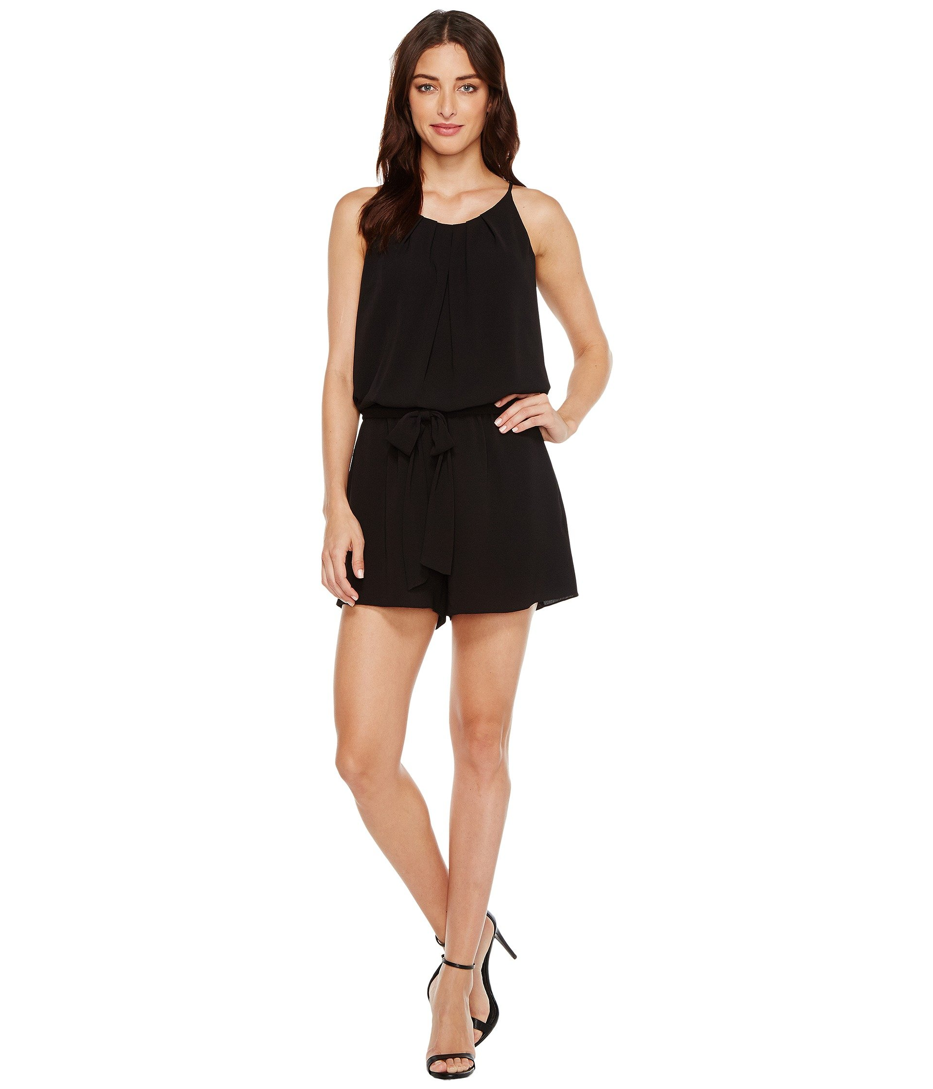 Enterizo para Mujer Vince Camuto Pleat Neck Belted Texture Romper  + Vince Camuto en VeoyCompro.net
