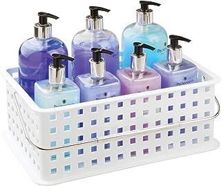 InterDesign Basic corbeille rangement, panier salle de bain moyen en plastique pour accessoires de douche et soins, blanc