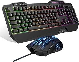 Havit Keyboard Rainbow Backlit Wired Gaming Keyboard Mouse Combo, LED 104 Keys USB..
