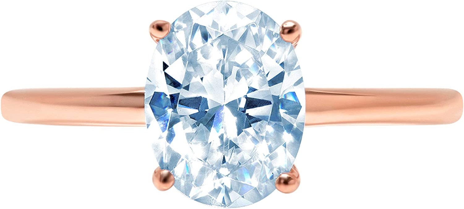2.5ct Brilliant Oval Cut Solitaire Natural Sky Blue Topaz Gem Stone Ideal VVS1 4-Prong Engagement Wedding Bridal Promise Anniversary Ring Solid Real 14k Rose Gold for Women