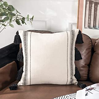 Sungea Decorative Square Throw Pillow Cover 18x18 Inch Black Striped Tassel Boho Modern Cushion Case Cover for Couch Bedroom Sofa Bed Home Decor Design