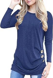 Aliex Women's Casual Tunic Top Short Sleeve Blouse T-Shirt Button Decor