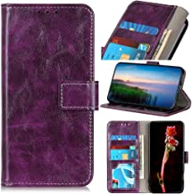 Mobile phone case Retro Crazy Horse Texture Horizontal Flip Leather Case with Holder & Card Slots & Wallet & Photo Frame for LG W30(Black) (Color : Purple)