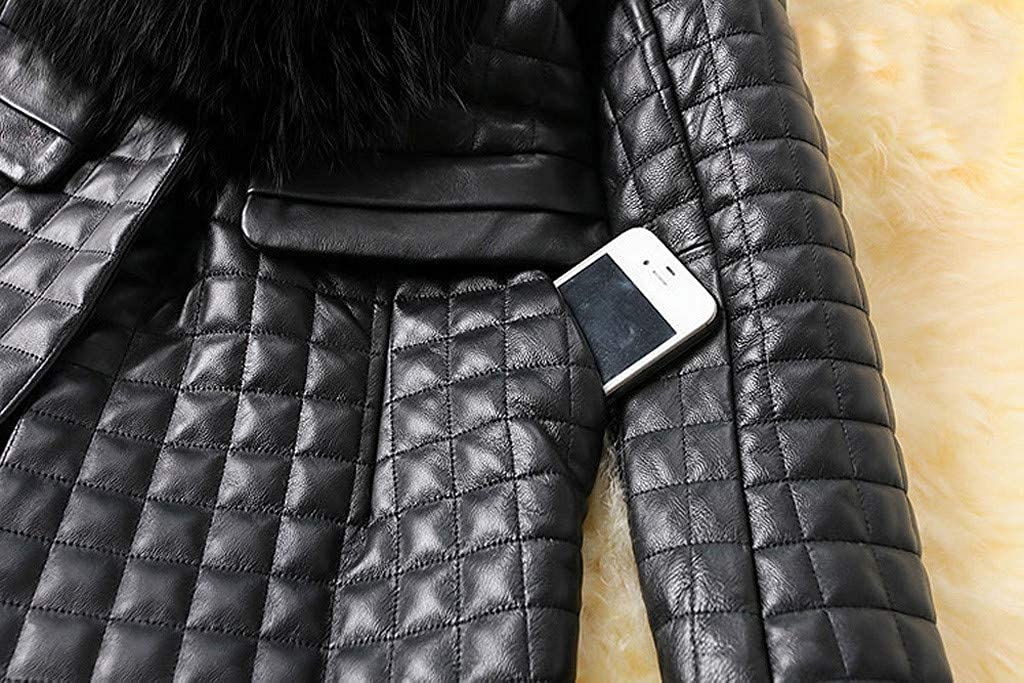 Winter Long Sleeve Faux Fur Collar Coat for Women Mid-Length Fashion Coat Jacket Winter Warm Cardigan Leather Coat