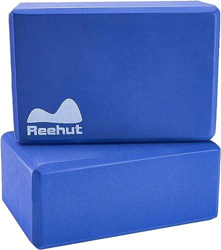 REEHUT Yoga Blocks 2 Pack/ 1 Pack, High Density EVA Foam Blocks to Support and Deepen Poses, Yoga Blocks Set to Impro...