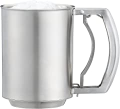 Xunda 3 Cup Flour Sifter,3 Layer Stainless Steel Powder Sieve Hand Extrusion Treatment