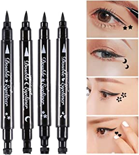 ZJchao Double-Ended Eyeliner Heart/Flower/Moon/Satr Shape Stamp Pen, 4 Styles/Set Waterproof Long Lasting Eye Decoration Cosmetic Black Eyeliner Pencil
