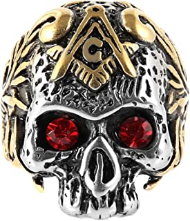 HZMAN Stainless Steel Masonic Ruby Eye Skull Rings, The Premium Fashion Forward Freemason Band Ring for Man Jewelry