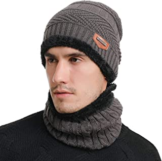 Men's Thick Warm Wool Knitted Hat and Scarf Winter Gift Set