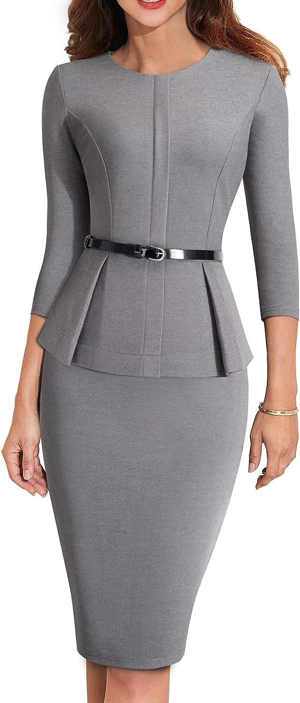 HOMEYEE Women's 3 4 Sleeve Office Wear Peplum Dress with Belt B473