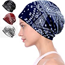 Ababalaya Women's Kinds of Lace/Floral/Print/Cotton Chemo Cap Hair Loss Beanie Nightcap Pack