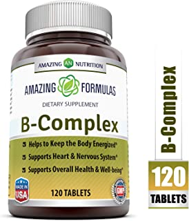Amazing Formulas B Complex - 100Mg or Mcg Doses of 11 Key Nutrients - 120 Tablets - Provides Energy Support - Promotes Heart & Nervous System Health & Overall Well-Being