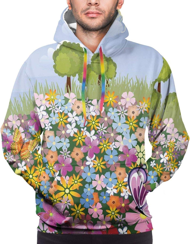 Men's Hoodies Sweatshirts,Flourishing Spring Meadow Ornate Artistic Nature Romantic Birds Butterflies Leaves