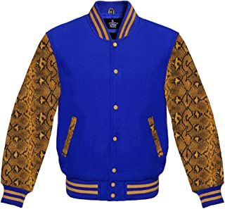 a3a0f405722 Varsity Jacket for Baseball Letterman of Royal Blue Wool and Snake Skin  Sublimated Cowhide Leather Sleeves