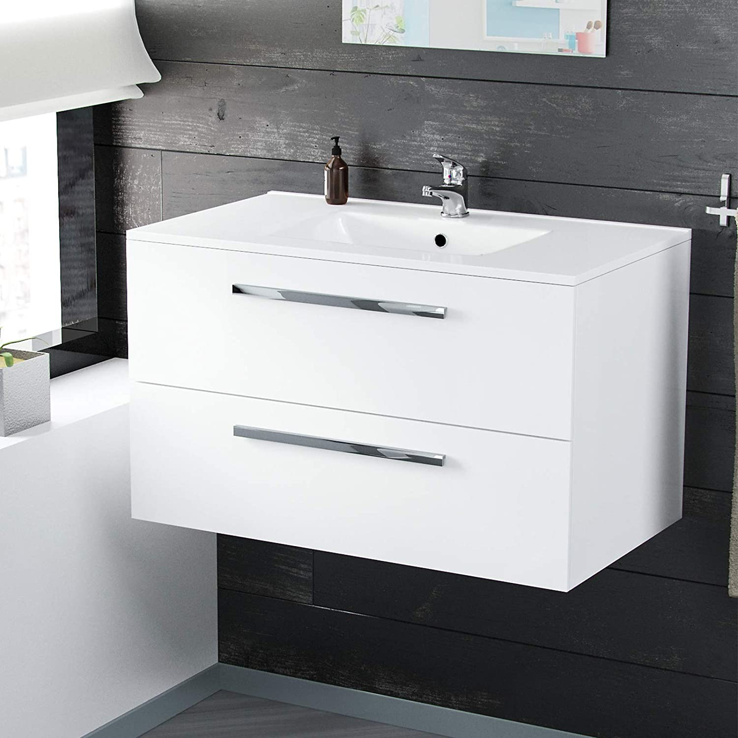 Nes Home   Omile 800mm Wall Hung White Ceramic Basin Sink Vanity Unit - Cherry Basin Mixer Tap