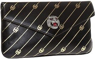 Gucci Black Broadway Animalier GG Archive Leather Envelope Clutch Handbag Bag 525008