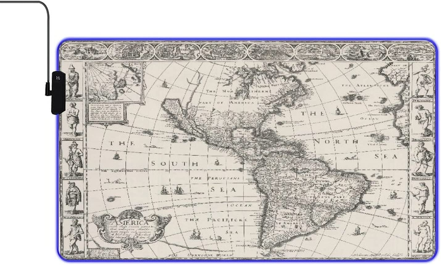 MISCERY Glowing Mouse Pad 1626 Antique Gifts North and South Latest item Am Map of