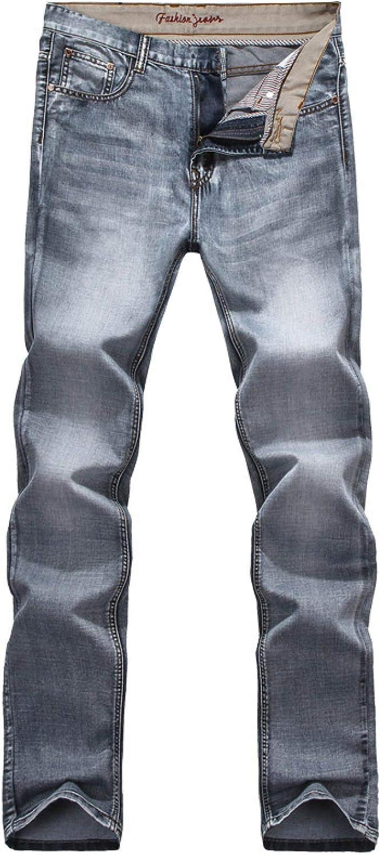 Wantess Men's Straight Jeans Blue Gray Zipper Placket Slim Fit Stretch Retro Style