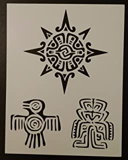 OutletBestSelling Reusable Sturdy Mexico Mexican Maya Mayan Aztec Symbol 8.5 x 11 Custom Stencil