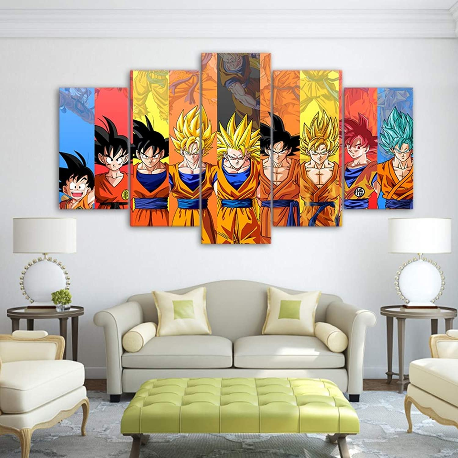 5 Pieces Canvas Art Prints Dragon Ball Poster Goku Modeling Pictures for Living Room Modular Wall Art Oil Painting,B,10X15X210X20X210X25X1