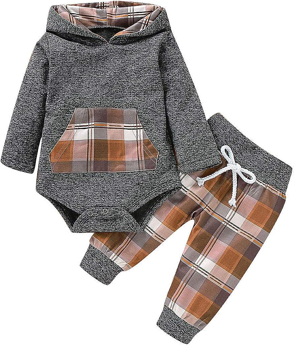 Infant Baby Boys Girls Clothes Hoodie Plaid Pocket Sweatshirt Jackets Shirt+Pants 2PCS Clothes Set