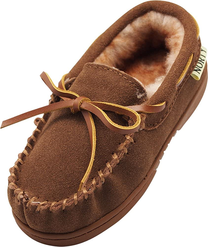 NORTY Toddler Boys Girls Unisex Suede Leather Moccasin Slip On Slippers - Runs 2 Sizes Small