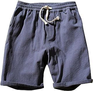 bc2adf6ff2a5d Homme Shorts Bermudas Chino Pantacourt Pantalon en Lin Plage Sports  Décontracté Léger Confortable Respirant