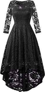 Womens Lace Cocktail Dress Elegant Floral Sleeveless Swing High Low Formal Prom Dress