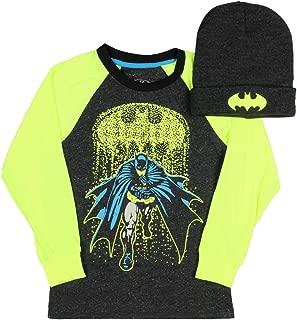 Batman Boys Long Sleeve Graphic Shirt with Black Beanie