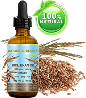 RICE BRAN OIL Oryza sativa. 100% Pure Natural Refined PREMIUM Undiluted Cold Pressed Carrier Oil for for FACE, BODY, HANDS, FEET, NAILS & HAIR and LIP CARE. 2 Fl. oz. - 60 ml.