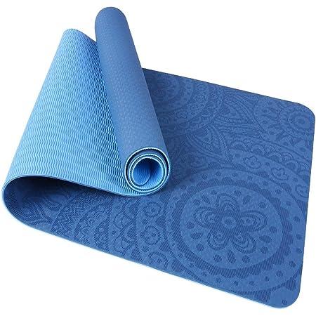TOMSHOO Tappetino Yoga Antiscivolo TPE Tappetino per Pilates Fitness Ecologico con Borsa per Body Building Pilates 183 * 61 * 0.6cm