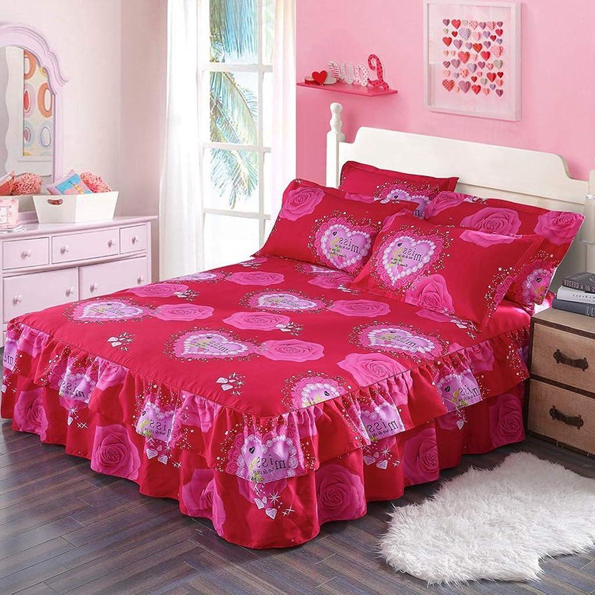 異議キャプチャー騒々しい寝具プリーツベッドスカートダブルベッドスカートダブルレース保護ケース - 高級ダストラッフル (色 : W, サイズ さいず : 200×220cm)