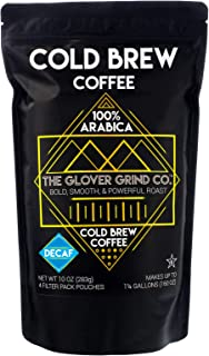 The Glover Grind Co. - 4 Decaffeinated Cold Brew Coffee Packs, 100% Arabica Single Origin Colombian Coffee, Kosher, Makes up to 1.25 Gallons, Less Acidic, Smooth, Powerful and Fresh Roast.