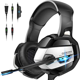 ONIKUMA Gaming Headset compatible with PS4 and Xbox One (new), compatible with Nintendo Switch. PC gaming headset with crystal clear sound, LED lights and noise canceling microphone [dpl]