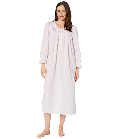 Eileen West Cotton Woven Lawn Long Sleeve Ballet Gown (Rose Ground/White Floral Dot) Women