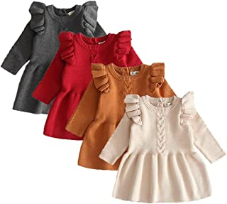 Toddler Baby Girls Knitted Long Sleeve Ruffles Sweater Dress Outfits Winter Warm Tops Clothes