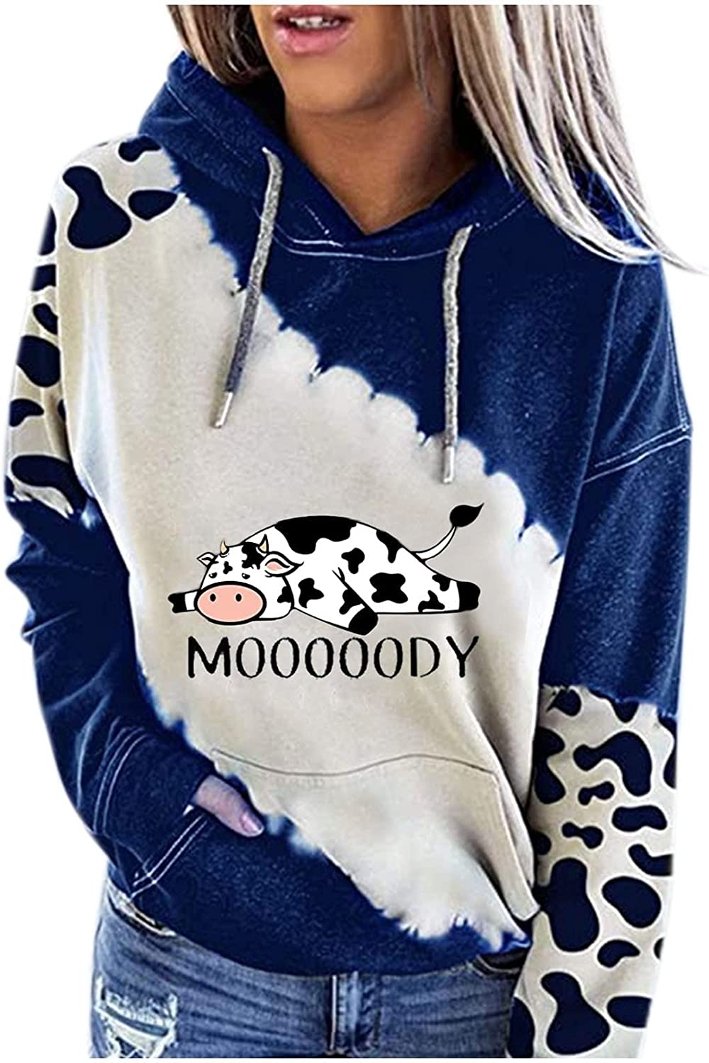 Moody Cow Hoodie for New Limited price arrival Women P Print Cute Thin Women's