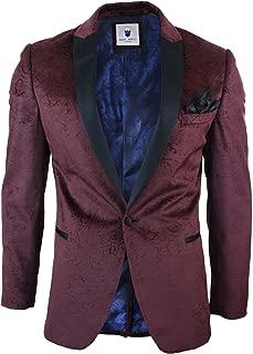 Mens Velvet Paisley Wine Black Blazer Tuxedo Dinner Jacket Smart Casual Burgundy 36