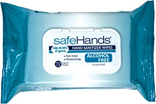 Sponsored Ad - safeHands Alcohol-Free Hand Sanitizer Wipes, 72 Gentle Antibacterial Wipes per Pack, 2 Packs, 144 Zero Alco...