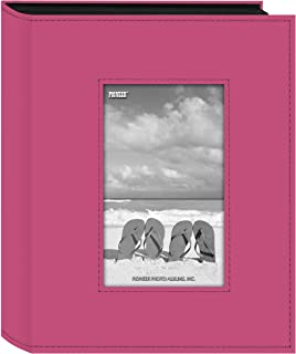 Pioneer Sewn Leatherette Frame Photo Album, Bright Pink
