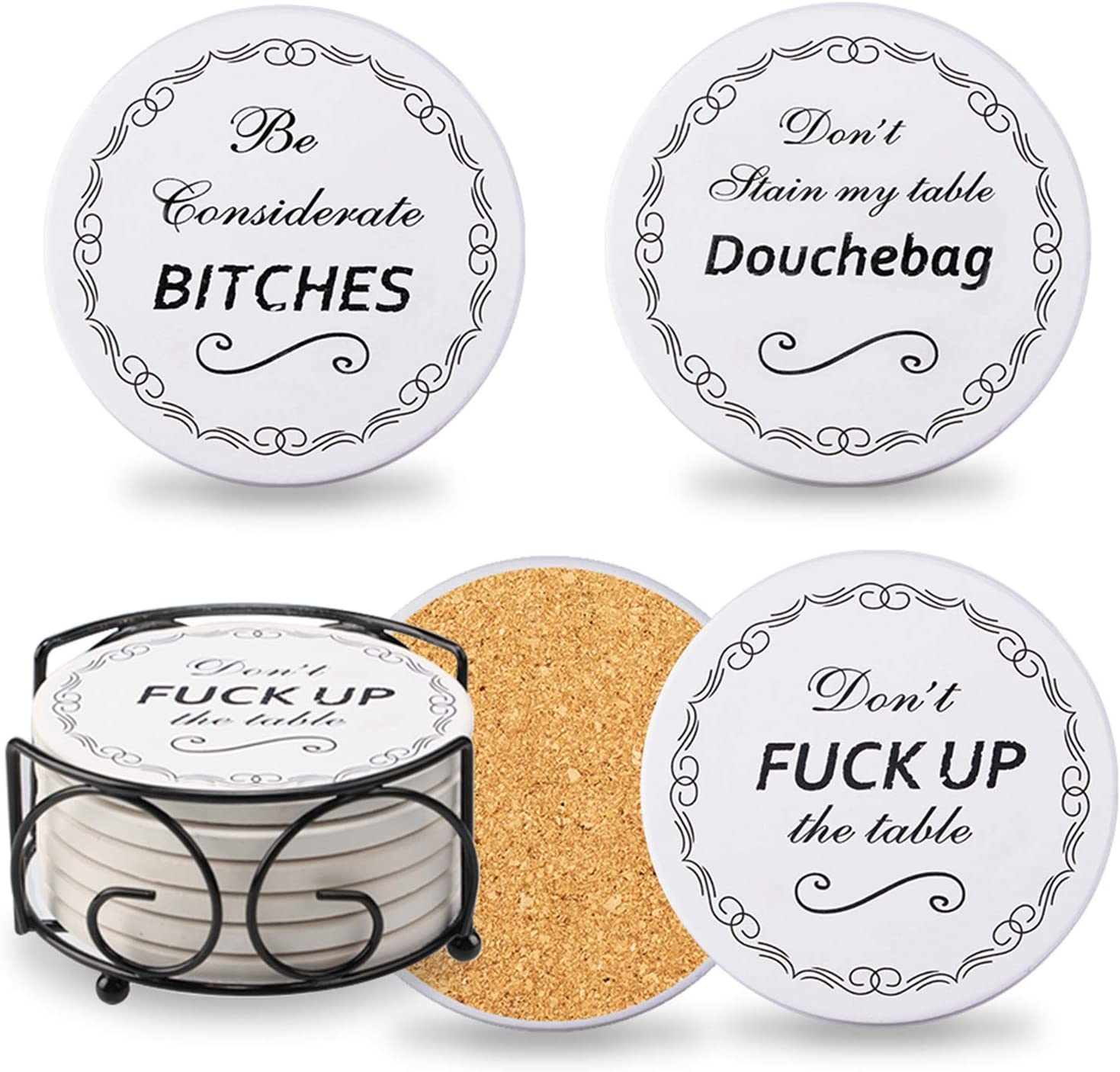 Chrider Funny Coasters for Drinks Absorbent with Holder, 6-Piece Set, Present for Men, Women, Friends, Housewarming, Living Room Decorations, Birthday, Ideas