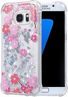 Galaxy S7 Case, Flocute Galaxy S7 Glitter Floral Case Flower Bling Sparkle Floating Liquid Soft TPU Cushion Luxury Fashion Girly Women Cute Case for Samsung Galaxy S7 (Cherry)