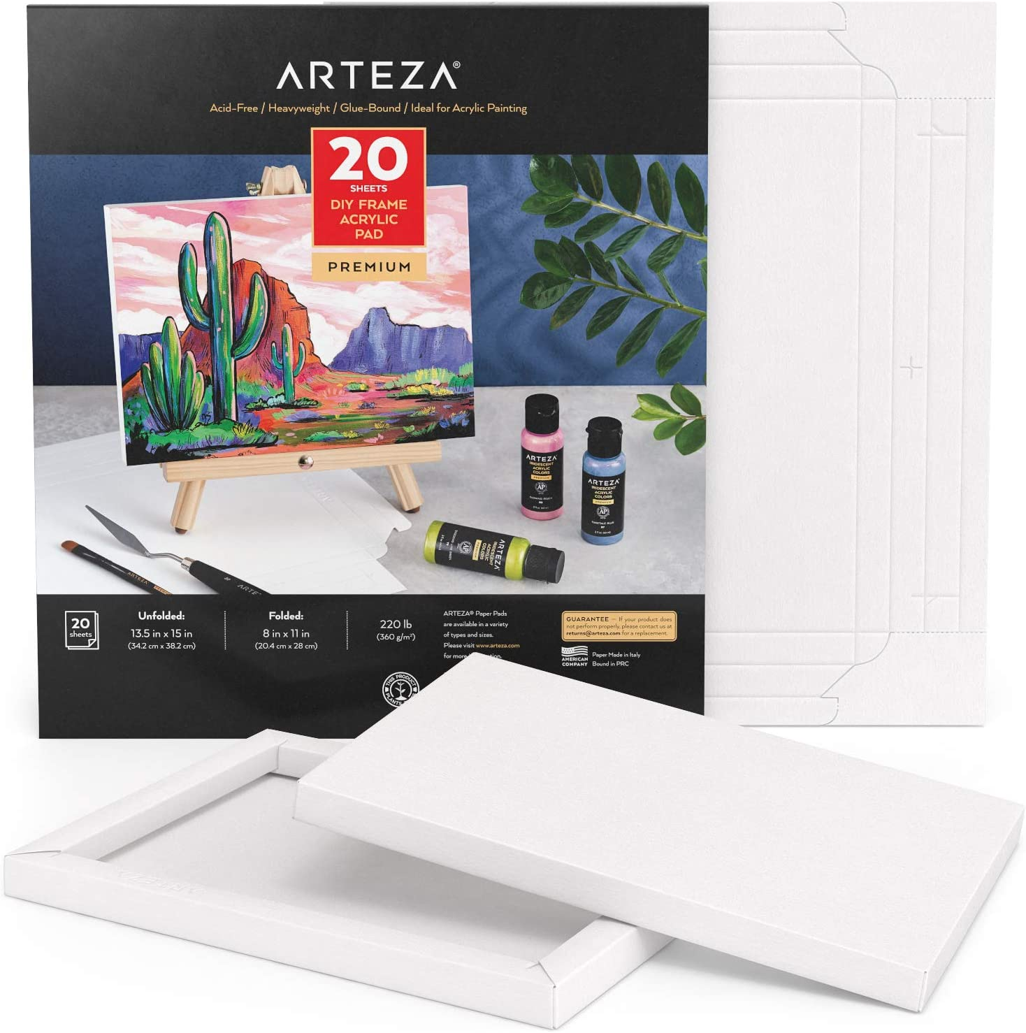 Arteza Acrylic Paper Foldable Regular discount Canvas Inches 20 8x11 Sheets Pad trend rank