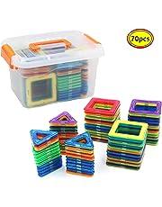 RUE YUE マグネット おもちゃ 男の子 女の子 磁石 おもちゃ 子供プレゼント 知育玩具 立体 パズル 磁気ブロック70個収納ケース付き【 正方形*35pcs 三角形*35pcs】